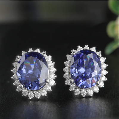 4Ct Round Blue Synthetic Sapphire Push Back Solitaire Stud Earrings Solid Silver 18K White Gold Finish