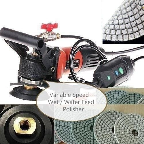 "220V 240V Variable Speed Concrete Cement Wet 5/"" Polisher Pad 15+1 stone marble"