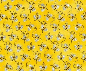 FAT-QUARTER-FABRIC-MINI-BUMBLE-BEES-METALLIC-ACCENTS-COTTON-PATTY-REED-FQ