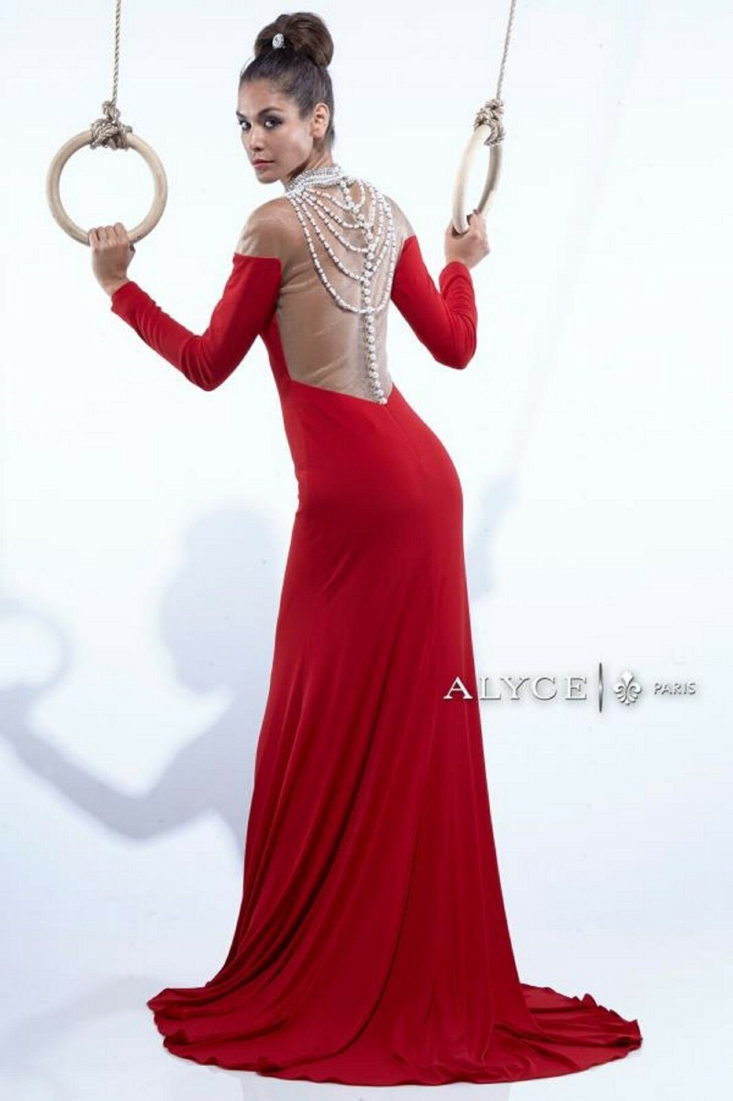 NWT Size 6 RED jersey long sleeved jeweled formal PROM evening gown, Alyce 2411