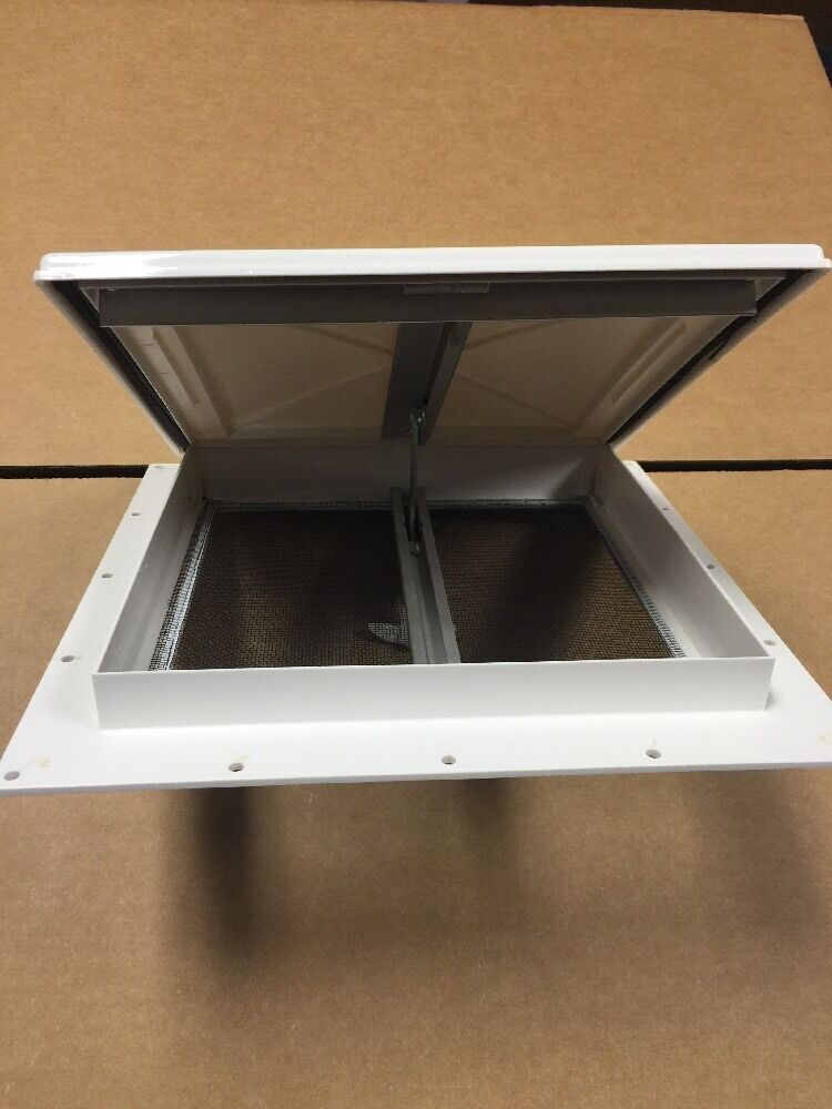 New white 9 x 9 mini roof vent rv bathroom pop up cargo for Install bathroom in enclosed trailer