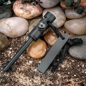 Fire Starter Flint Steel Striker Survival Kit Ferro Rod Outdoor Camping Tool Mag
