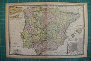 Spain portugal vintage original 1894 rand mcnally world atlas map image is loading spain portugal vintage original 1894 rand mcnally world gumiabroncs Gallery