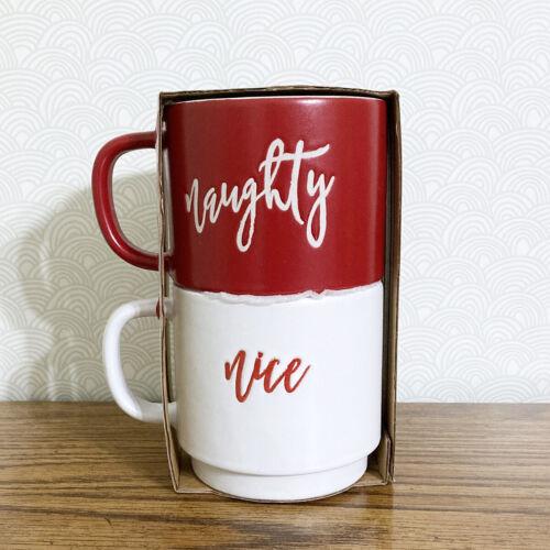Naughty Nice Coffee Mug Cup Set 2 Stackable 14 oz Christmas Holiday Red White