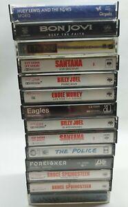 Vintage Lot Of 14 Classic Rock Cassette Tapes Springsteen, Billy Joel, Santana,