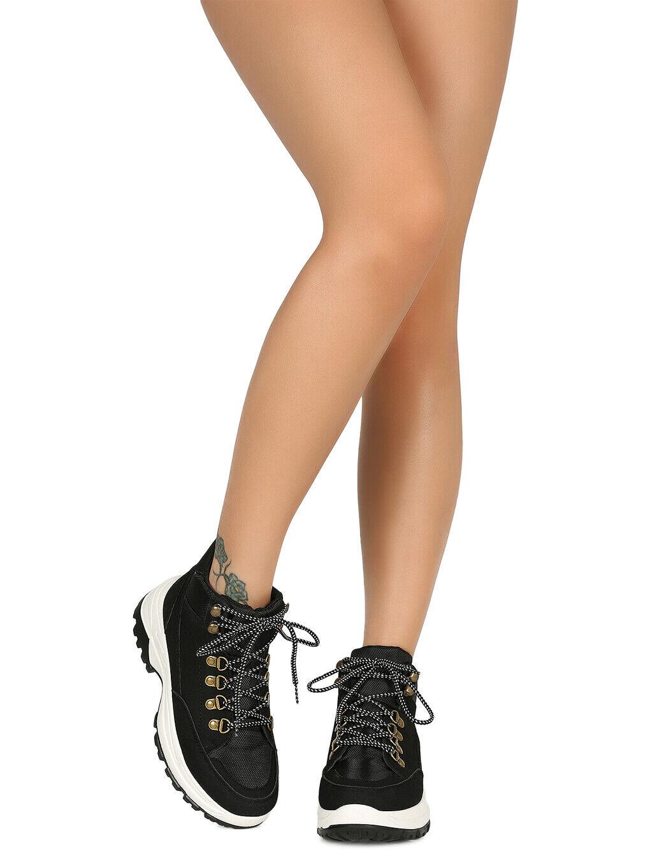Women Leatherette D-Ring Lace Up Lug Sole Flatform Sneaker 18626