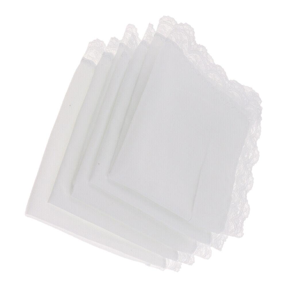 5Pack Men Women Wedding Party Lace 100% Cotton Handkerchiefs Hanky 23x25cm