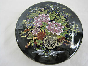 Vintage-Imperial-Kutani-Japanese-Round-Covered-Trinket-Box-Dish-Container-Black