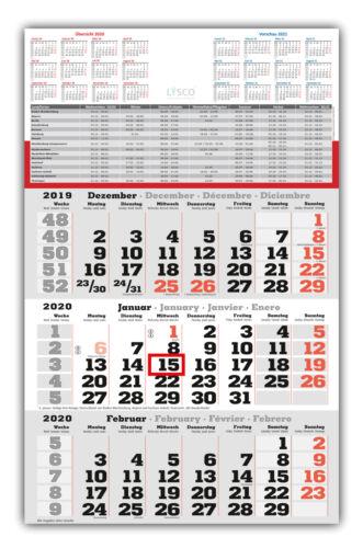 Ferien und Jahresüberblick Dreimonatskalender 3 Monats Wandkalender 2020 inkl
