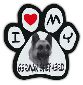 Picture-Paws-Dog-Paw-Shaped-Magnets-I-LOVE-MY-GERMAN-SHEPHERD-Car-Magnet