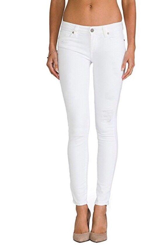NEW Paige Denim Verdugo Ultra Skinny Mid Rise Jeans Size 31 Chalk White Destruct