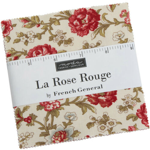 """La Rose Rouge Moda Charm Pack 42 100/% Cotton 5/"""" Precut Quilt Squares"""