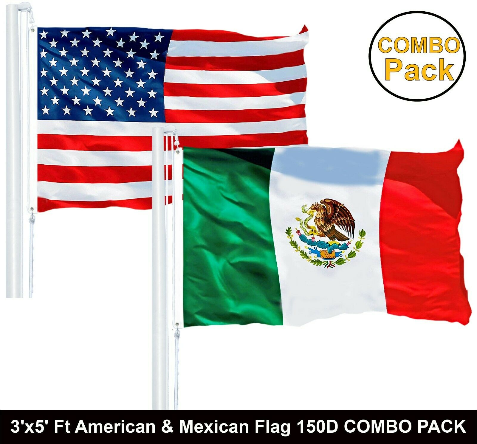 "Mexico Country Flag 3/' X 5/' Premium Outdoor International Banner /""USA Seller/"""