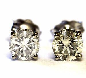 GIA-certified-14k-white-gold-98ct-SI2-K-L-round-diamond-earrings-9g-estate