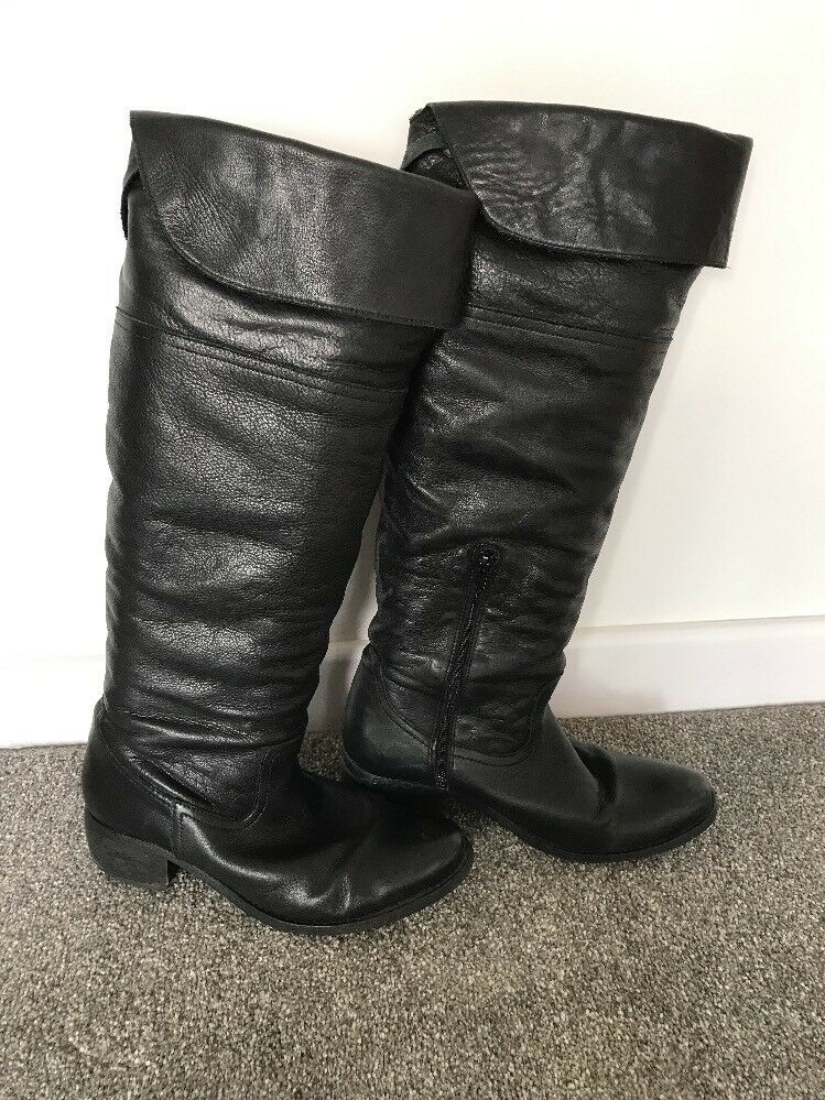 Women's Over Knee Black Leather Boots - UK7