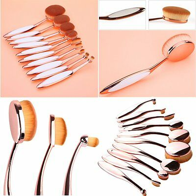 10Pcs Soft Oval Toothbrush Makeup Brush Set Foundation Brushes Tool Rose Gold WD