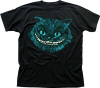 CHESHIRE Cat blue Alice in Wonderland All Mad here Hatter black t-shirt 9583