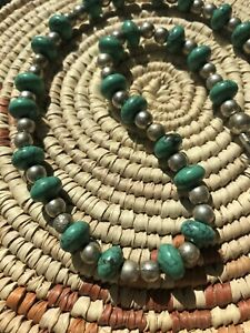 739-Vintage-Navajo-Sterling-Silver-Bench-Beads-Turquoise-19-Length-Necklace