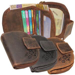 VINTAGE in pelle da donna semicircolare Portafoglio Portamonete Pelle Bovina molti scomparti carte