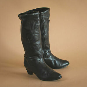le sur années cuir 4 UK années Bottes Vintage d'origine en titre Détails 37 à veau 6 noir femme EUR 90 talon 80 US afficher CxodrBeW