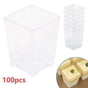 100x120ml Square Dessert Cups Plastic 4oz Mini Cube Clear Sample Party Decor