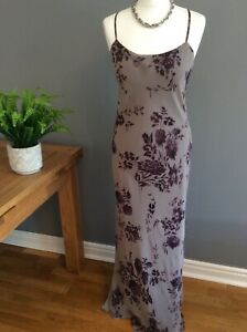 Jigsaw-100-Silk-Sheer-Maxi-Dress-Pale-Grey-With-Purple-Floral-Print-UK-14