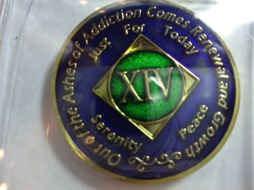 Capsule/&Stand NA Blue Gold Coin 14 Year Tri-Plate Narcotics Anonymous Medallion
