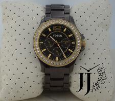 New FOSSIL Ladies RILEY  Brown Ceramic Bracelet Brown Glitz Dial Watch CE1044