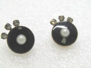 Vintage-Art-Deco-Pierced-Earrings-Black-Faux-Pearl-Rhinestones-Screw-Posts