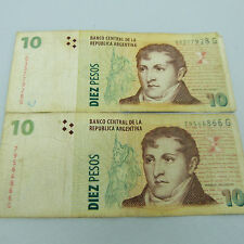 THE NICKEL STORE:  ARGENTINA PAPER MONEY: LOT OF 2 DIEZ (10) PESOS