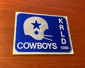 DALLAS-COWBOYS-STICKER-VINTAGE-1970s-1980s-Shiny-Silver-Blue-KRLD-Football-NFL
