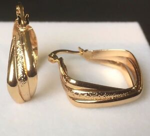Image Is Loading W30 Real 18k Gold Filled Diamond Shaped Hoop