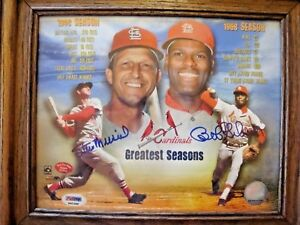 STAN-MUSIAL-BOB-GIBSON-AUTOGRAPHED-8-10-GREATEST-SEASONS-PSA-DNA