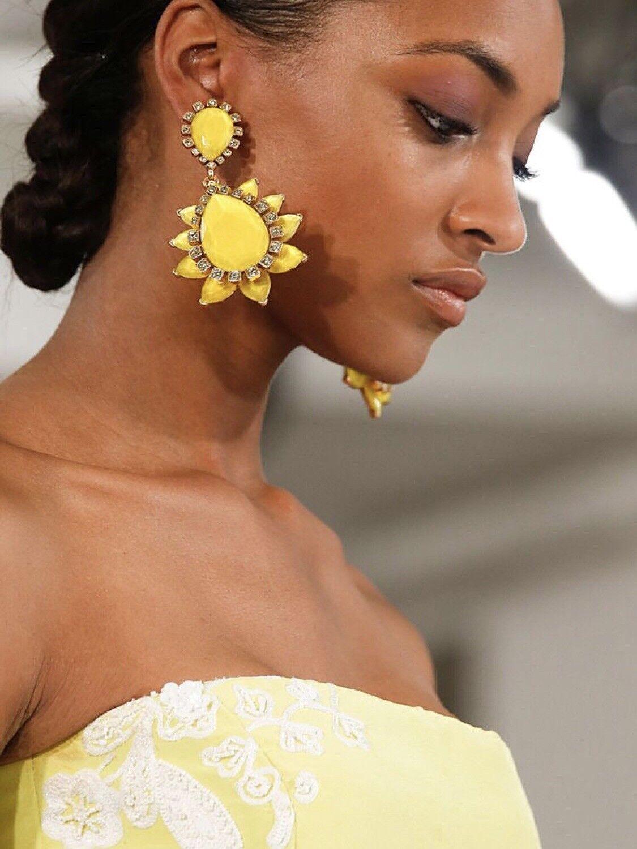 Oscar de la Renta Runway Yellow Earrings