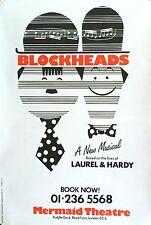 "LAUREL AND HARDY BLOCKHEADS ORIGINAL LONDON THEATRE POSTER 30"" X 20"""