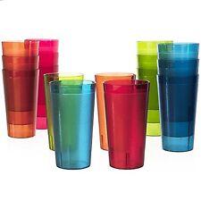 Plastic Cup Set Beverage Tumblers Set of 16 Drinking Water Soda Tea Juice Party