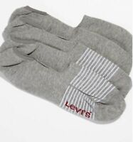 2-Pack Levi's No Show Stripe and Solid Socks (Grey)