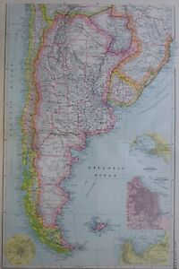 1919-MAP-SOUTHERN-SOUTH-AMERICA-FALKLAND-CHLIE-ARGENTNA-BUENOS-AIRES-MONTEVIDEO