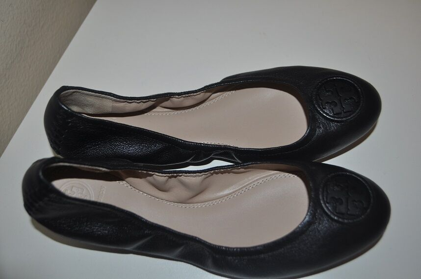 NEW $250+ Tory Burch ALLIE Ballet Flat Shoe Black Leather Ballerina Logo 7.5 M
