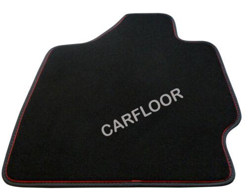 Für Mini R57 Cabrio Fußmatten Velours schwarz m Nubukband und roter Absetzung