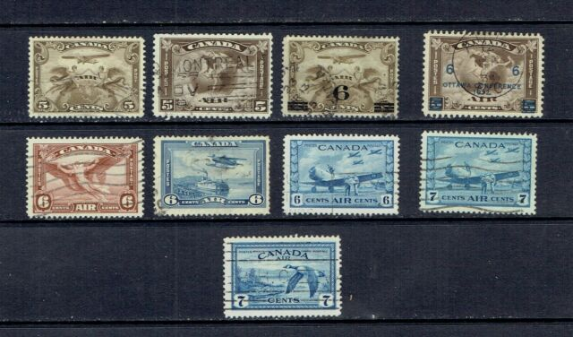 CANADA - 1928 TO 1946 AIR MAIL STAMPS - SCOTT C1 TO C9 - USED