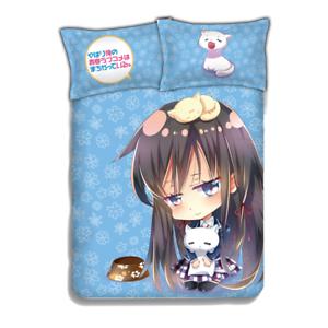 """Anime NEKOPARA Quilt Cover Blanket Full Set Bed Sheet Bedding 59/""""X78/"""" 4PCS #C"""