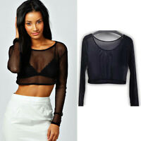 Sexy Womens Crop Top Ladies Mesh Lace Fishnet Long Sleeve Stretch Vest T Shirt