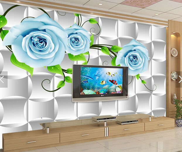 3D bluee Flowers 589 Wall Paper Wall Print Decal Deco Indoor Wall Mural CA