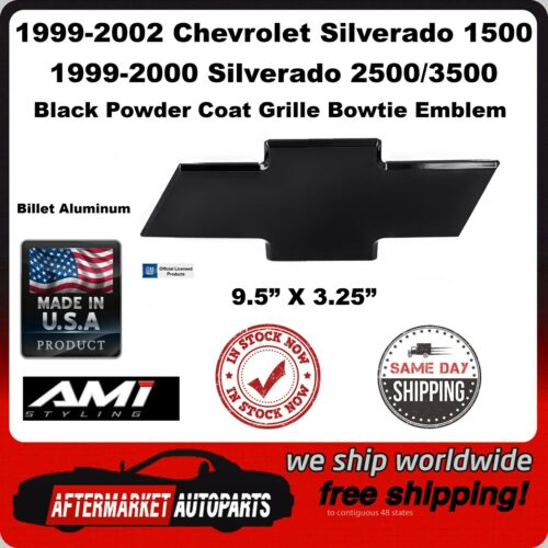 99-02 Silverado 1500 Black Powder Coat Billet Bowtie Grille Emblem AMI 96143K