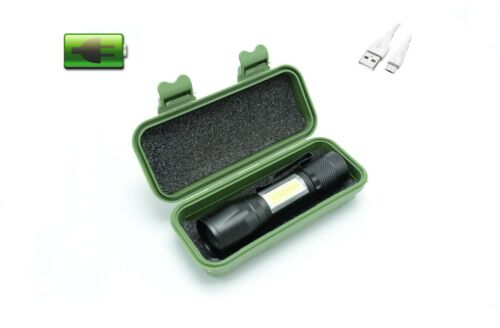 Mini USB Rechargeable Flashlight Zoomable Handheld Torch pocket clip brightest