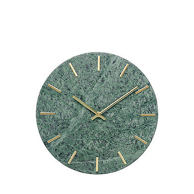 NEW Vue Marble Wall Clock, 30cm - Green & Gold