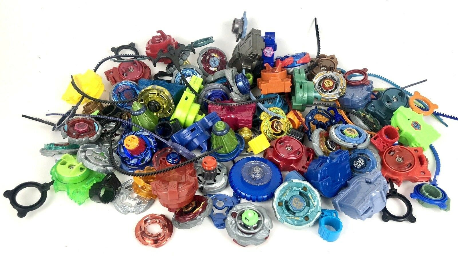 Huge Lot of 100+ BEYBLADE Metal Spinning Tops Parts Launchers Accessories 4lbs +