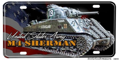 United States Army M4 Sherman Tank Aluminum License Plate