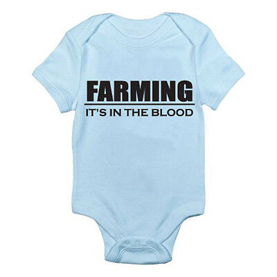 Tractor Themed Baby Grow//Suit FARMING IT/'S IN THE BLOOD Farmer Agriculture